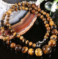 6-14MM GENUINE YELLOW TIGER EYE GEMSTONE ROUND BEADS NECKLACE 18""