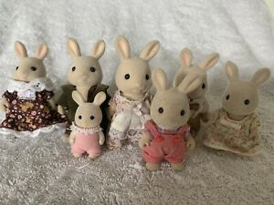 Vintage Sylvanian Families Set Of 7 Periwinkle Rabbit Family Cute!