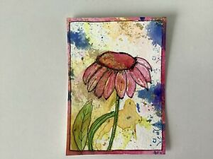 """Artist Trading Cards ACEO  Original Painting Flower Daisy Pink 2.5"""" X 3.5"""" Kenna"""