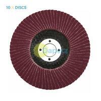 "10 X Flap Sanding Discs 115mm 40 120 Grit Aluminium Oxide 4.5"" Angle Grinder Mix"