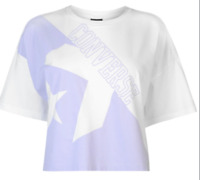 Converse Boxy Cropped T-Shirt White/Purple Ladies Size UK M *REF152