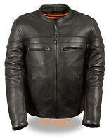 Mens Black Naked Drum-Dyed Leather Vented Sporty Biker Jacket with Gun Pockets