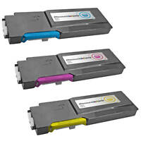 3PK C3760 Cyan Magenta Yellow Extra HY Toner Cartridge Set for Dell C3760n C3765
