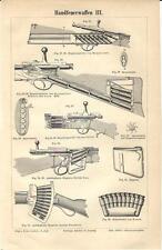 Stampa antica FUCILI Tav. 3 ARMI LEGGERE 1890 Old antique print
