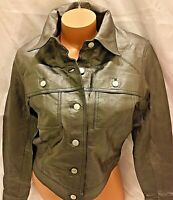 Bagatelle leather jacket Motorcycle Womens 8 Black Charcoal Button MEDIUM biker