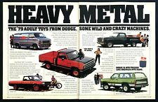 """1979 Dodge Macho Power Wagon Warlock II Etc photo """"Heavy Metal"""" 2-page print ad"""