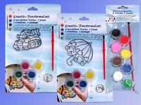 Wasserfarben o. Fenster Malset, Farben + Pinsel + Fensterbild Schablone Anhänger