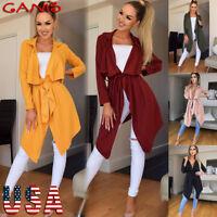 Women Slim Long Trench Coat Jacket Windbreaker Parka Overcoat Outwear Cardigan