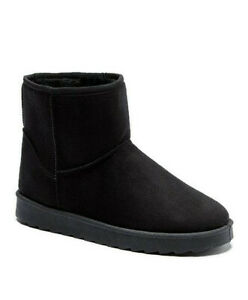 Womens Winter Boots Size 7 Extra Wide Fit Black Faux Fur Warm Lined Low Heel NEW