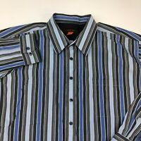 Nyne Button Up Shirt Men's 3XL XXXL Big Long Sleeve Gray Blue Striped Casual