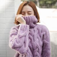 Womens High Neck Warm Winter Mohair Sweater Coat Pullover Knitwear Tops Jacket