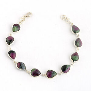 925 Sterling silver Ruby Zoisite stone bracelet Jewelry for gift