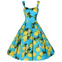 Vintage Retro Turquoise Blue Lemon Pinup 50s Rockabilly Summer Party Swing Dress