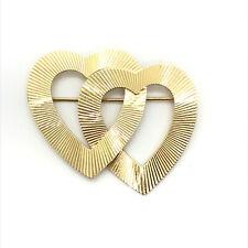 Hearts Pin Brooch 8.3 grams 14K Yellow Gold Interlocking Open
