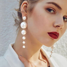 Fashion Lady Elegant Big Simulated Pearl Long Tassel Statement Dangle Earring