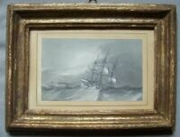 VELIERO IN TEMPESTA disegno antico 1850 old ship drawing on paper ,nave