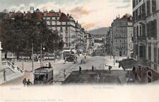 GENEVE SWITZERLAND RUE DU MONTBLANC CHOCOLATE TROLLEY POSTCARD (c. 1905)
