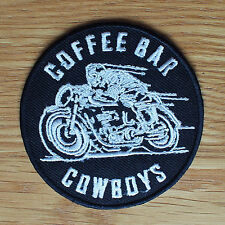 Motorcycle Biker Jacket Cafe Racer Rocker Cloth Patch Badge COFFEE BAR COWBOYS