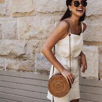Summer Bags Women Lady Rattan Straw Bag Woven Round Handbag Crossbody Beach Bags