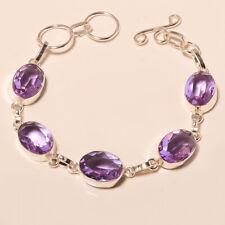"Shiny Color Change Alexandrite Faceted Gemstone 925 Sliver Jewelry Bracelet 6-8"""