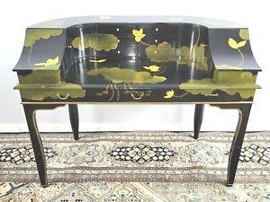 Vintage Black Lacquer Harpsichord Desk Piano shaped Desk Mid Century Tons Space