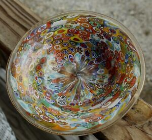 COLORFUL Vintage MURANO Glass MILLEFIORI BOWL Italian SPARKLY GOLD AVENTURINE