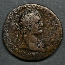 A RARE BRASS DUPONDIUS OF DOMITIAN: MARS ADVANCING. ROME, AD 86. RIC 482.