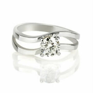 1 CT CERTIFIED SOLITAIRE ROUND CUT DIAMOND 18 KT WHITE GOLD ANNIVERSARY RING NWT