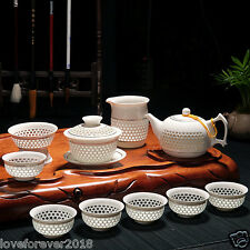 11pcs porcelain tea set chinese pot of tea cup white hollow-out design creamer