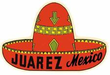 Juarez Mexico  sombrero  border  Vintage 1950's Style  Travel Decal Sticker
