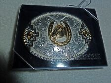 Montana Silversmith Sterling Silver Belt Buckle horse & Horseshoe (NEW!)