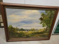 Betty Fischer Folk Artist Painting Of Cows On Farm oil painting on canvas