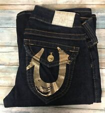 True Religion Jeans Joey 27 x 34  Gold Foil  Flare Leg Stretch.   (e-51)
