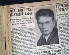 John Logie Baird Father of Color Television Invention Death 1946 Old Newspaper
