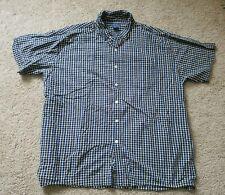 Mens' 1X Great Northwest Navy Blue/White/Yellow Button Down Short Sleeve Shirt