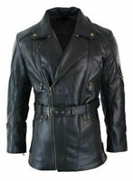 Mens Black 3/4 Motorcycle Biker Long Leather Jacket/Coat