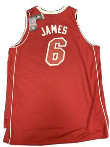 New Lebron James Miami Heat Men Size 2X Adidas Red XMAS Swingman Rare Jersey NWT