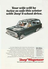 Original 1966 Jeep Wagoneer Magazine Ad - Your Wife Will Be Twice As Safe