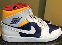 Nike Men's Air Jordan 1 Mid Royal Blue Laser Orange 554724-131 size 12