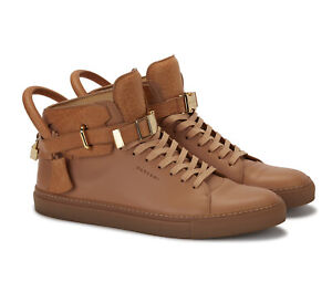 Authentic Buscemi Mens 100mm Clip Tan Leather High Top Sneakers + Box Size 14 US