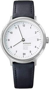 Mondaine Helvetica Regular, Casual Black Leather Watch, MH1.R1210.LB, 33 MM