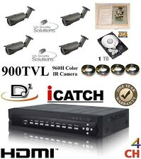 4Ch Security Network Dvr System Package & 1 Tb Hd & Four Outdoor Bullet Camera