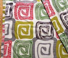 Mid-Century Modern Barkcloth Fabric Drape Panel Town & Country Peru, 5.5 yds