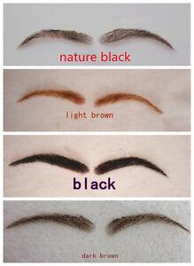 Handmade Human Hair Woman False Eyebrows Black Brown Hand Knot Fake Eyebrow