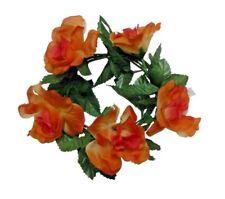 "Orange Rose 6.5"" Candle Ring 3.5"" Opening PillarTaper Home Silk Flower Decor US"