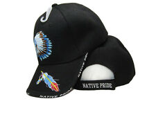 Native Pride American Headdress Feather Black Indian Embroidered Cap Hat (RAM)