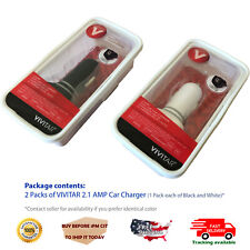 2 Pack VIVITAR 2.1 AMP DUAL SLOT USB CAR CHARGER FOR MOBILE PHONE iPAD TABLET