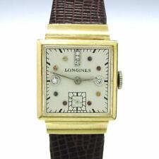 Vintage Solid 14K Gold Longines 21mm Square DIAMOND Dial 17j Cal 8LN Men's Watch