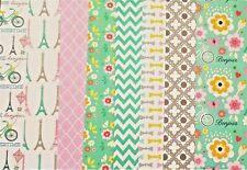 PARIS IN SUMMER All Glitter Cardstock 200 gsm 1 sheet of each design. 8 Sheets
