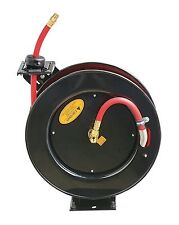 """REELWORKS Steel Retractable Air Compressor Hose Reel with 3/8"""" x 25' Hose,300PSI"""